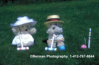 Victorian Teddy Bear couple playing croquet.