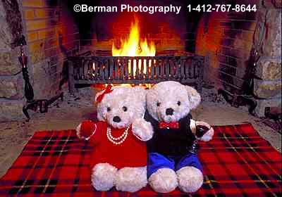 Romantic Teddy Bear couple spending the evening in front of the fire