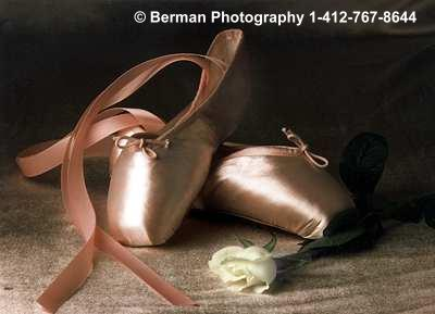 Lovely pink satin ballet toe shoes