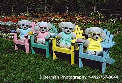 Teddy Bears lounging in a garden in their adirondak chairs sipping expresso.