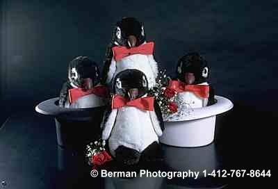 Four Penguins in top hats.